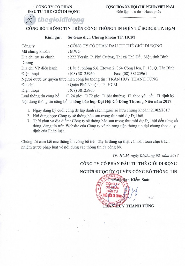 Chốt DS họp AGM 17
